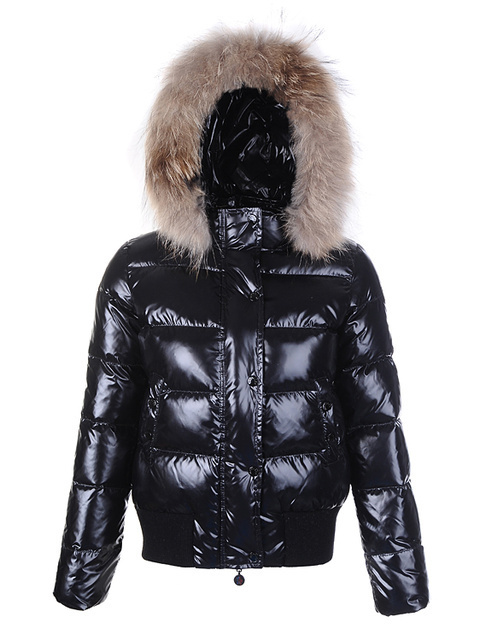 Cheap Moncler Jackets For Women Black With Fur Cap MC1193 Sale