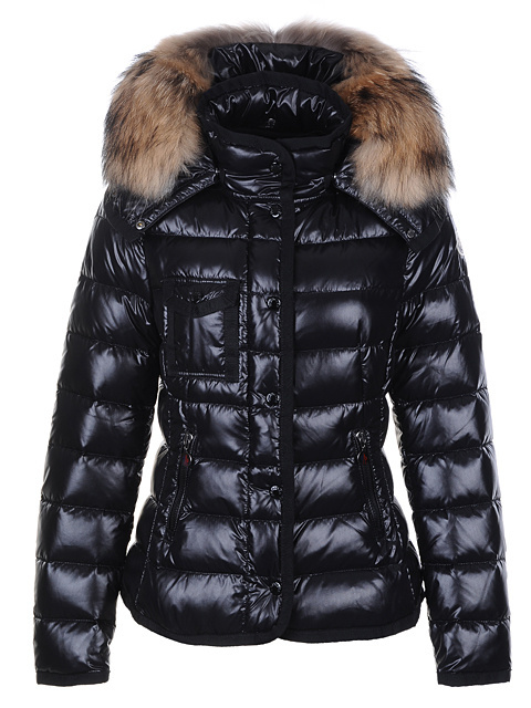 Cheap Moncler Jackets For Women Black With Fur Cap MC1245 Sale