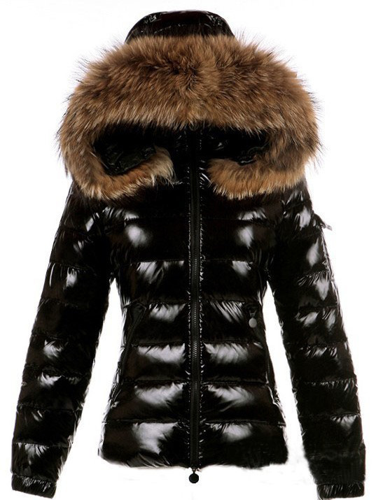 Cheap Moncler Jackets For Women Black With Fur Cap MC1288 Sale