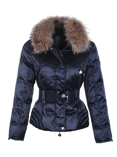 Cheap Moncler Jackets For Women Blue With Fur Collar And Waistband MC1091 Sale