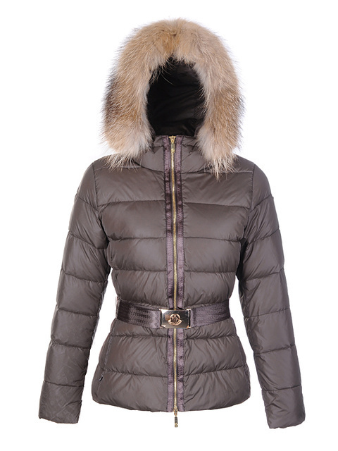 Cheap Moncler Jackets For Women Brown With Fur Cap And Waistband MC1186 Sale