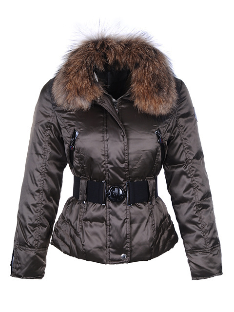 Cheap Moncler Jackets For Women Brown With Fur Collar And Waistband MC1092 Sale