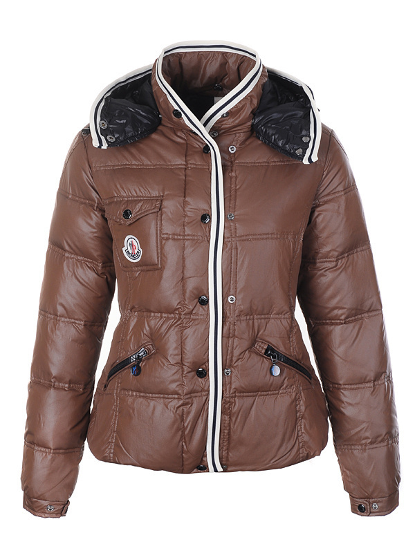 Cheap Moncler Jackets For Women Brown With Mock Collar MC1294 Sale