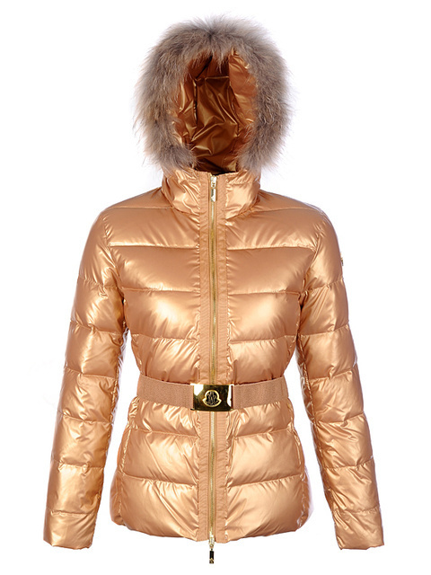 Cheap Moncler Jackets For Women Gold With Fur Cap And Waistband MC1188 Sale