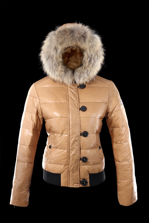 Cheap Moncler Jackets For Women Khaki With Fur Cap MC1178 Sale