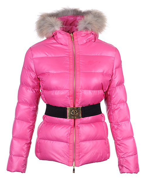 Cheap Moncler Jackets For Women Pink With Fur Cap And Waistband MC1255 Sale