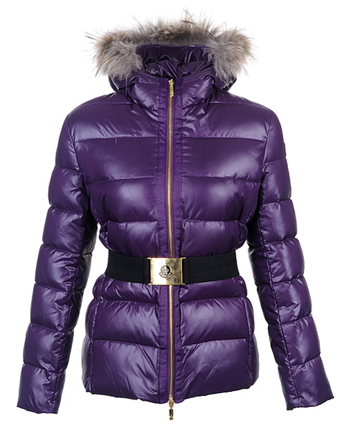 Cheap Moncler Jackets For Women Purple With Fur Collar And Waistband MC1270 Sale
