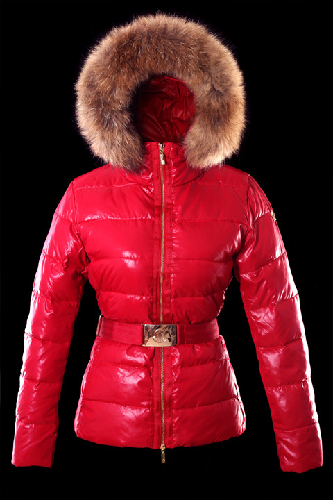 Cheap Moncler Jackets For Women Red With Fur Cap And Waistband MC1243 Sale
