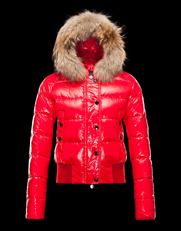 Cheap Moncler Jackets For Women Red With Fur Cap MC1046 Sale