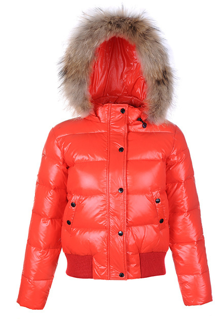 Cheap Moncler Jackets For Women Red With Fur Cap MC1194 Sale