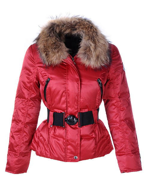 Cheap Moncler Jackets For Women Red With Fur Collar And Waistband MC1147 Sale