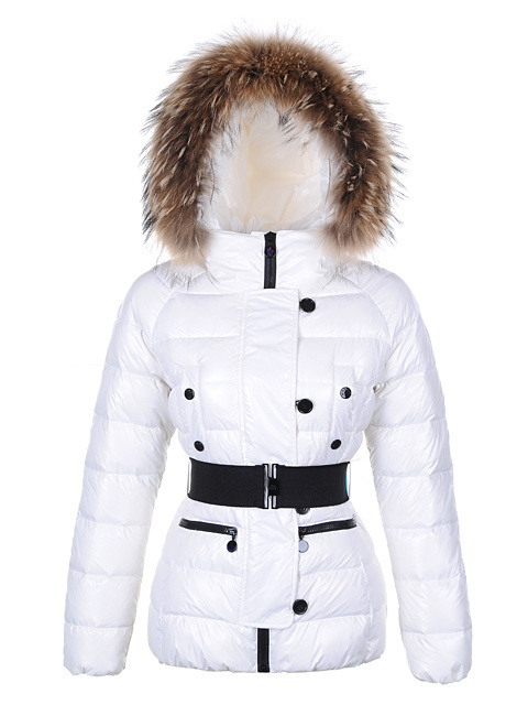 Cheap Moncler Jackets For Women White With Fur Cap And Waistband MC1244 Sale