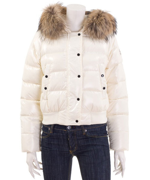 Cheap Moncler Jackets For Women White With Fur Cap MC1191 Sale