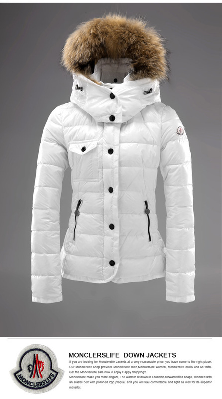 Cheap Moncler Jackets For Women White With Fur Cap MC1192 Sale
