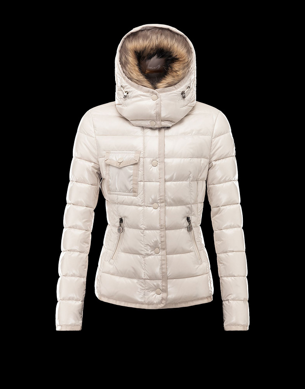 Cheap Moncler Jackets For Women White With Mock Collar And Removable Cap MC1164 Sale