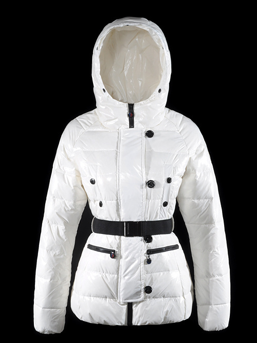 Cheap Moncler Jackets For Women White With Waistband MC1238 Sale