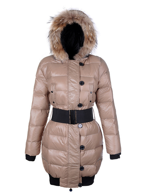 Cheap Moncler Long Coats For Women Beige With Fur Collar And Waistband MC1268 Sale