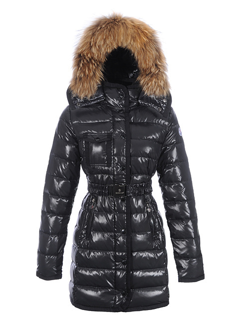 Cheap Moncler Long Coats For Women Black With Fur Cap And Waistband MC1172 Sale