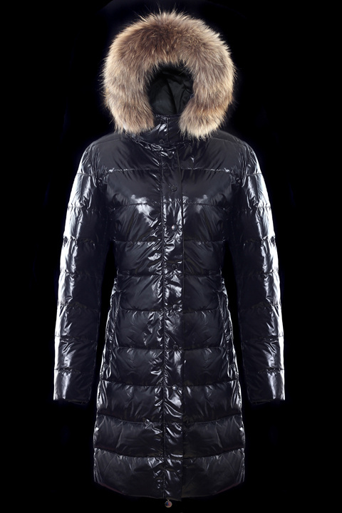 Cheap Moncler Long Coats For Women Black With Fur Cap MC1170 Sale