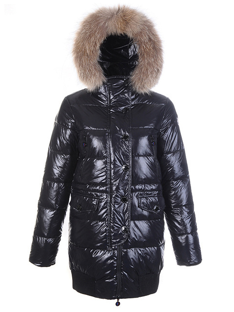 Cheap Moncler Long Coats For Women Black With Fur Cap MC1205 Sale