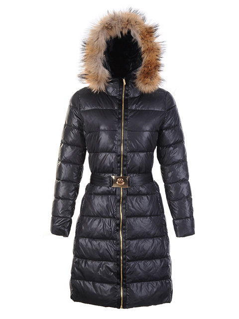 Cheap Moncler Long Coats For Women Black With Fur Cap Waistband MC1086 Sale