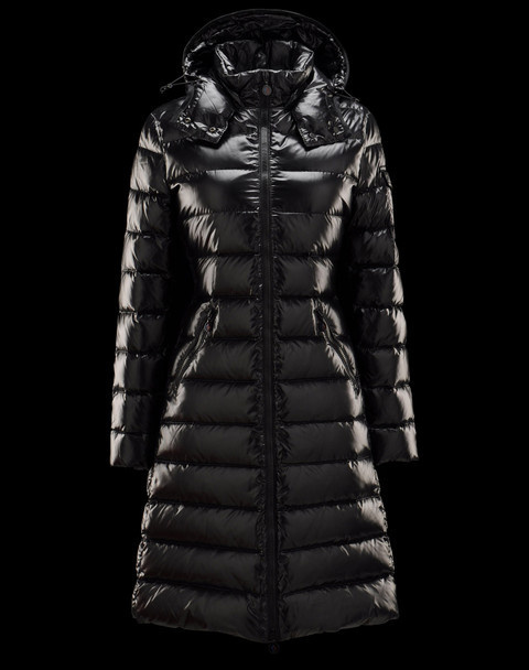 Cheap Moncler Long Coats For Women Black With Mock Collar And Detachable Cap MC1293 Sale