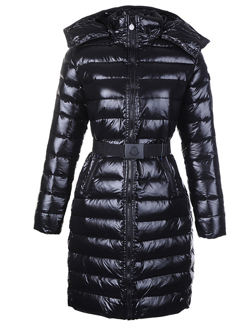 Cheap Moncler Long Coats For Women Black With Mock Collar And Waistband MC1085 Sale