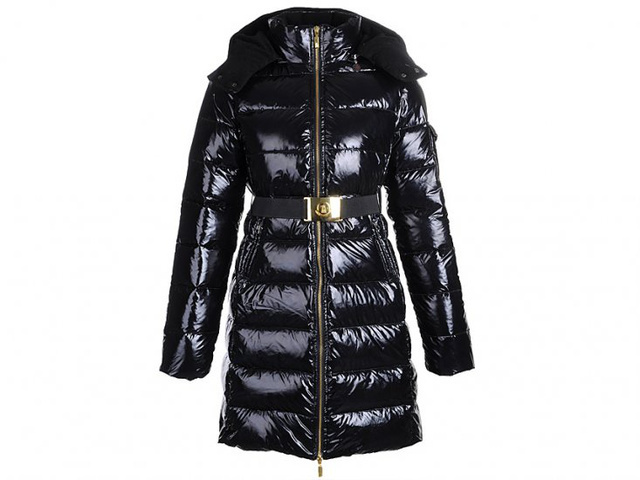 Cheap Moncler Long Coats For Women Black With Mock Collar And Waistband MC1291 Sale