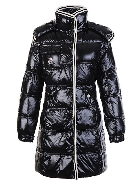 Cheap Moncler Long Coats For Women Black With Mock Collar MC1087 Sale