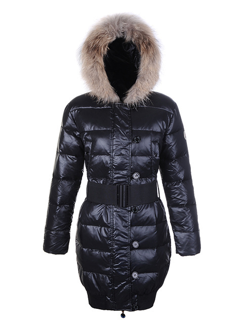 Cheap Moncler Long Coats For Women Black With Waistband And Fur Cap MC1282 Sale
