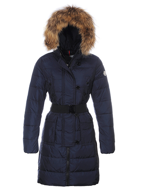 Cheap Moncler Long Coats For Women Blue With Fur Cap And Waistband MC1240 Sale
