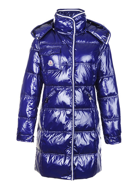 Cheap Moncler Long Coats For Women Blue With Mock Collar MC1083 Sale