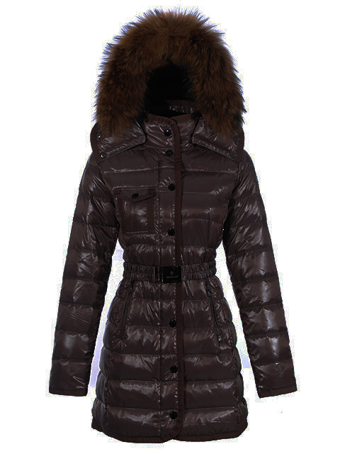 Cheap Moncler Long Coats For Women Brown With Fur Cap MC1177 Sale
