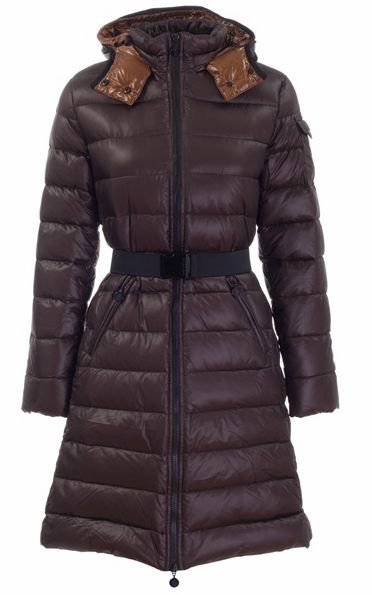 Cheap Moncler Long Coats For Women Brown With Mock Collar And Waistband MC1296 Sale