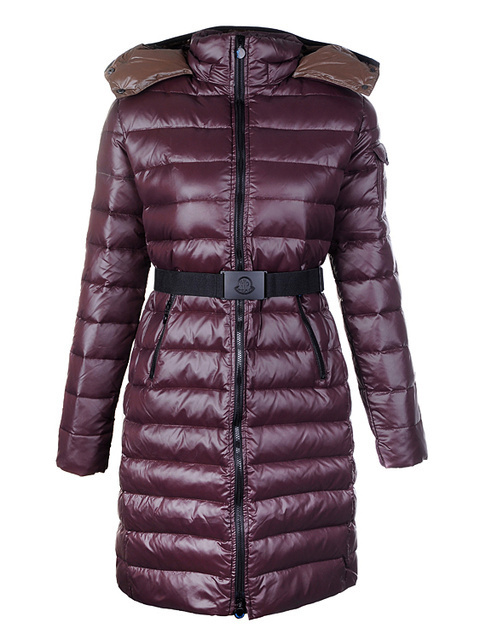 Cheap Moncler Long Coats For Women Claret With Mock Collar MC1089 Sale