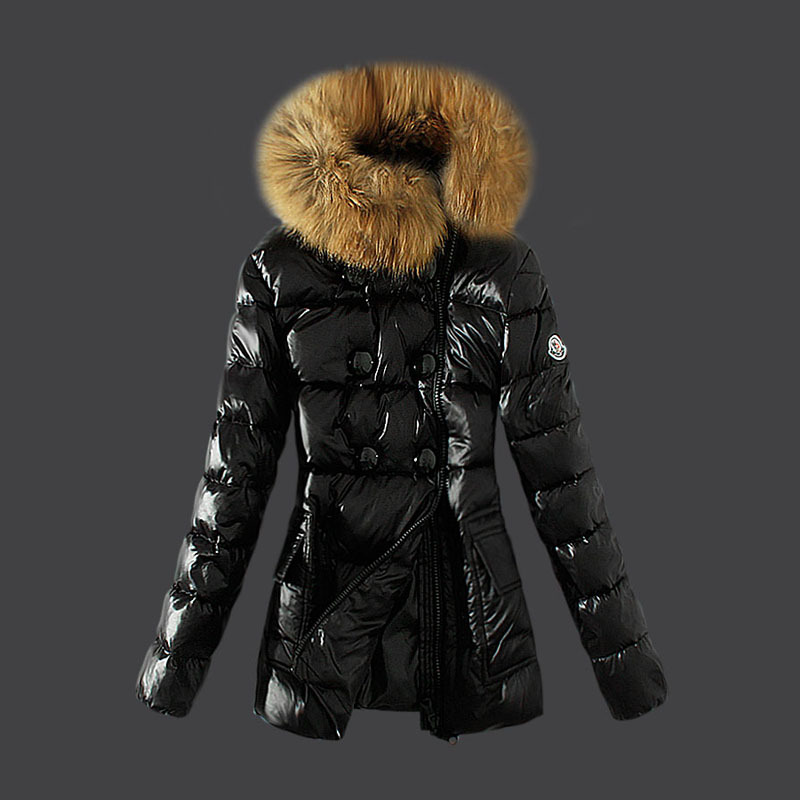 Cheap Moncler Long Coats For Women Fur Collar Black MC1555 Sale
