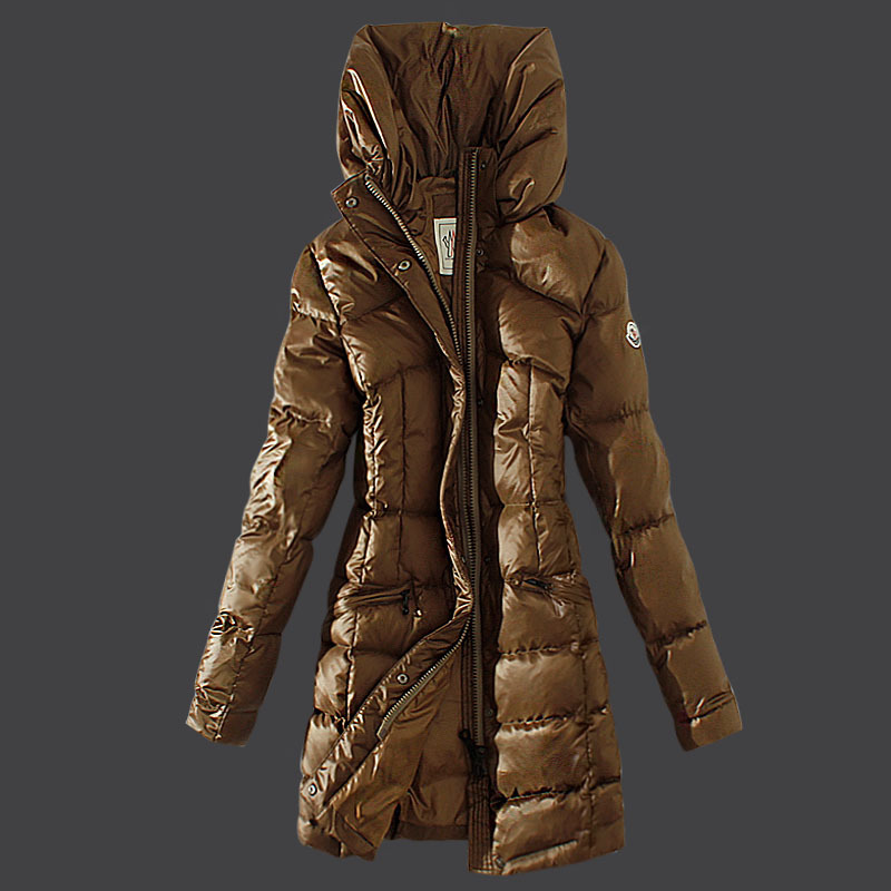 Cheap Moncler Long Coats For Women High Collar Dark Khaki MC1540 Sale