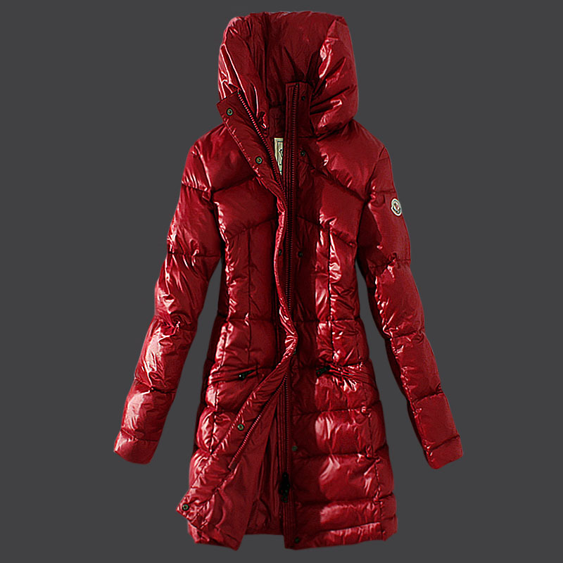 Cheap Moncler Long Coats For Women High Collar Red MC1538 Sale
