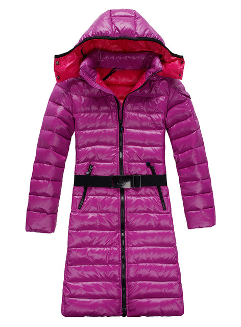Cheap Moncler Long Coats For Women Pink With Mock Collar And Waistband MC1254 Sale