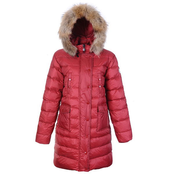 Cheap Moncler Long Coats For Women Red Long With Fur Cap MC1263 Sale