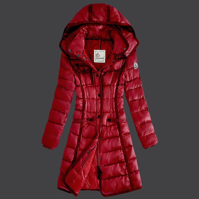 Cheap Moncler Long Coats For Women Red MC1548 Sale
