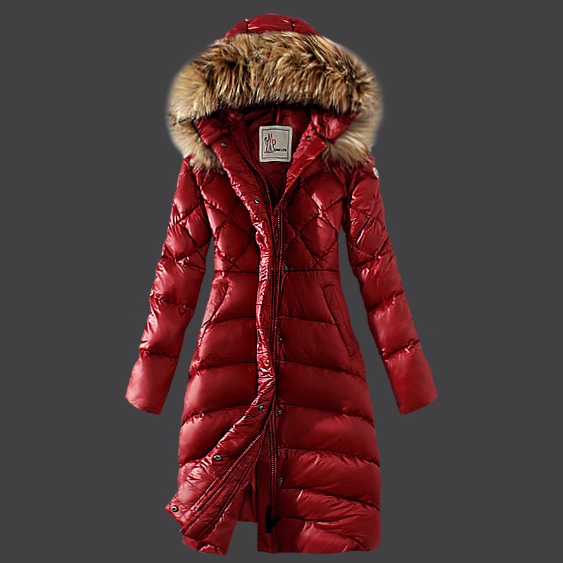 Cheap Moncler Long Coats For Women Red MC1588 Sale