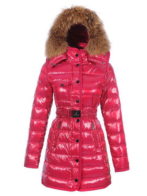 Cheap Moncler Long Coats For Women Red With Fur Cap And Waistband MC1175 Sale