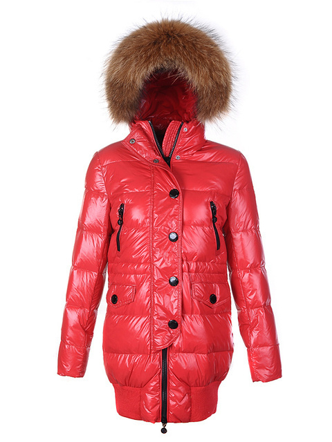 Cheap Moncler Long Coats For Women Red With Fur Cap MC1206 Sale