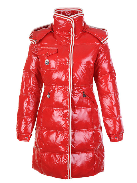 Cheap Moncler Long Coats For Women Red With Mock Collar MC1088 Sale