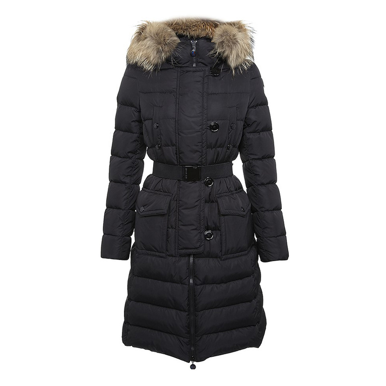 Cheap Moncler Long Coats For Women With Fur Cap Black MC1356 Sale
