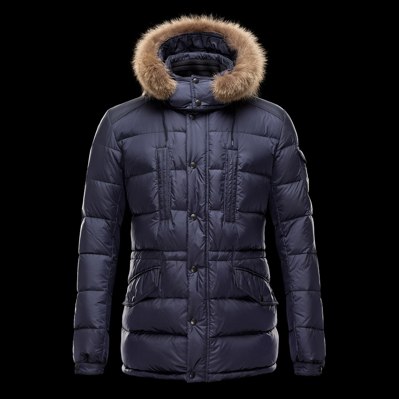 Cheap Moncler Long Coats For Women With Simple Fur Cap Navy MC1334 Sale