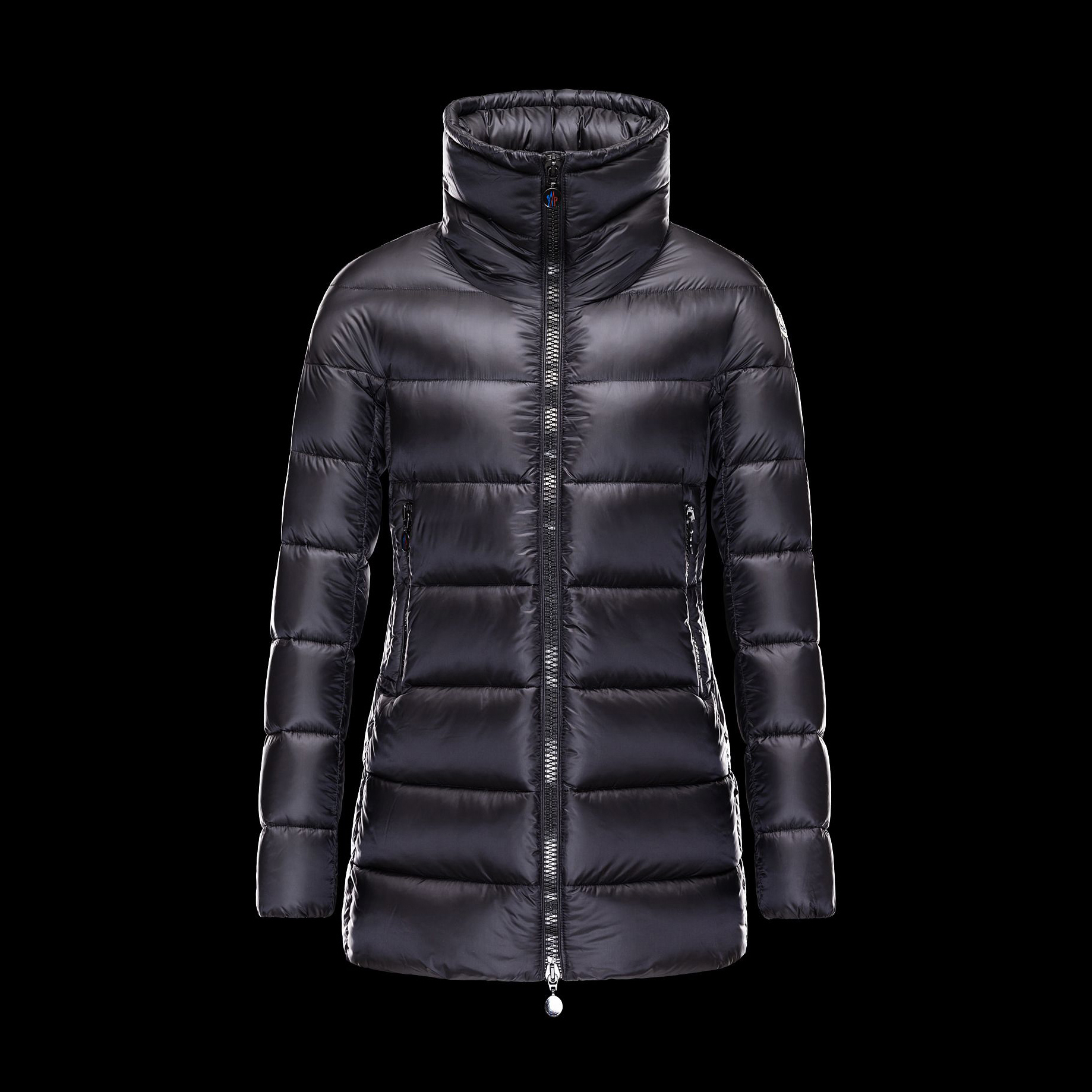 Cheap Moncler Long Coats For Women With Simple High Collar Black MC1335 Sale