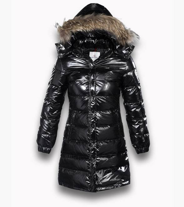 Cheap Moncler Long Jackets For Women Black With Mock Collar And Fur Cap MC1081 Sale