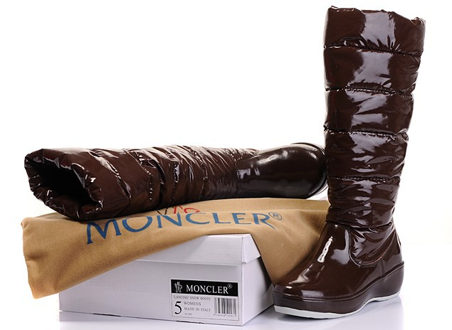 Cheap Moncler Patent Leather Brown Warm Boots MC1303 Sale